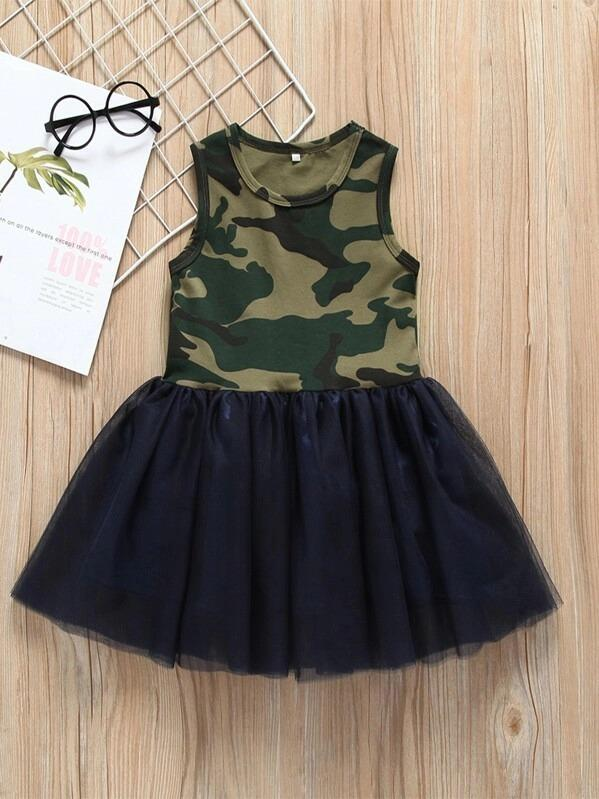 Toddler Girls Contrast Mesh Camo Print Tutu Dress