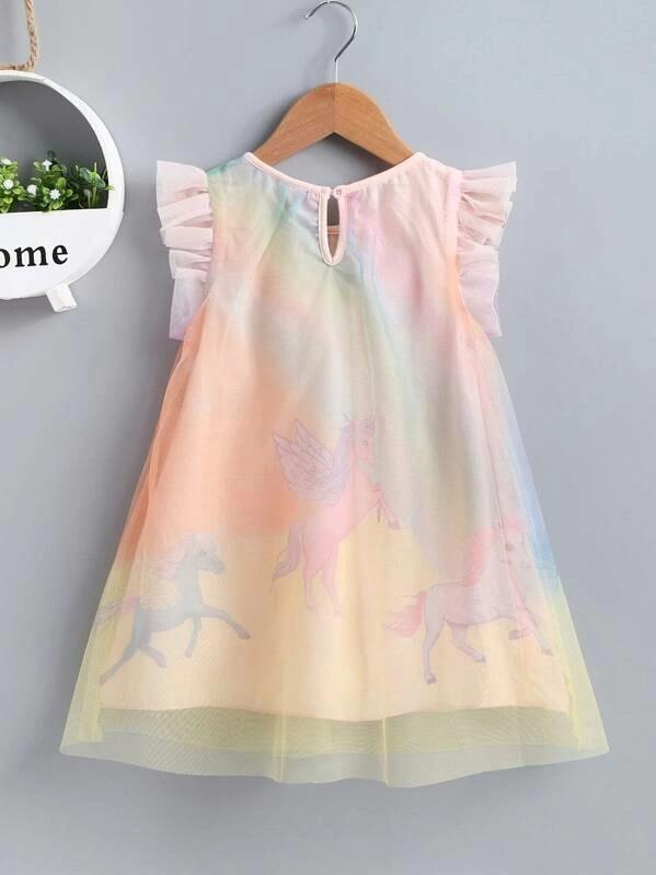 Toddler Girls Contrast Mesh Horse Print A-Line Dress