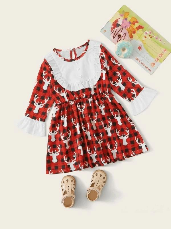 Toddler Girls Contrast Panel Christmas Print A-Line Dress