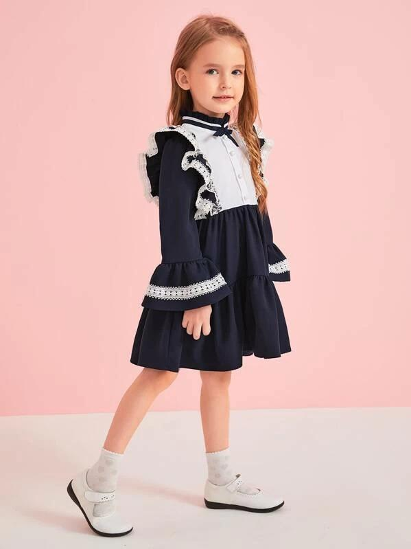 Toddler Girls Contrast Panel Frill Neck Ruffle Smock Dress
