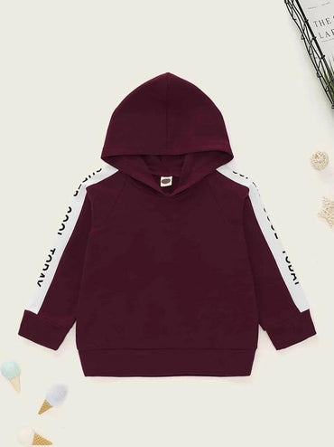 Toddler Girls Contrast Panel Letter Graphic Hoodie