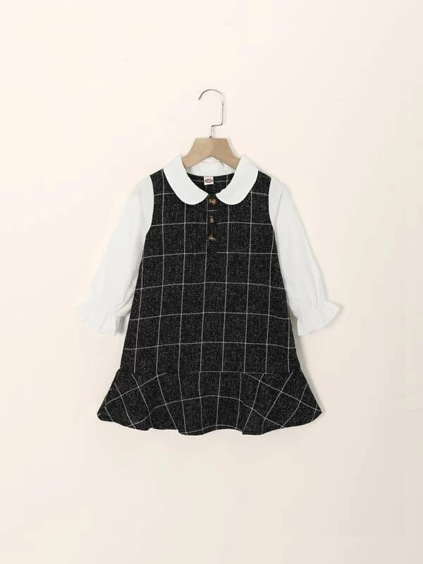 Toddler Girls Contrast Panel Plaid Babydoll Dress