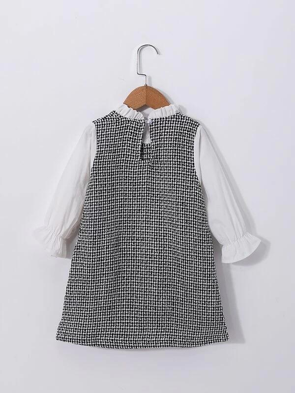 Toddler Girls Contrast Panel Plaid Tunic Dress Without Bag
