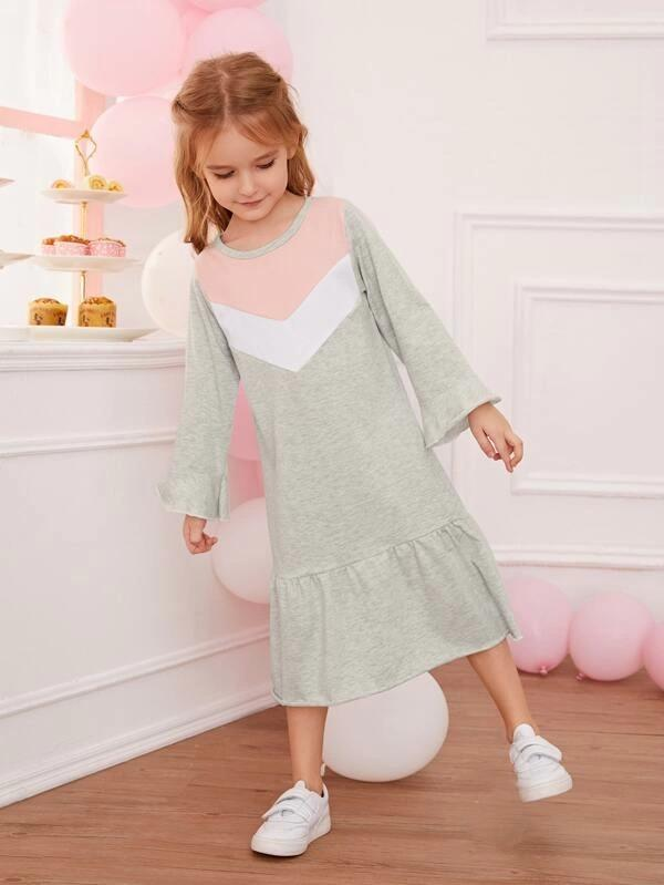 Toddler Girls Contrast Panel Ruffle Hem Smock Dress