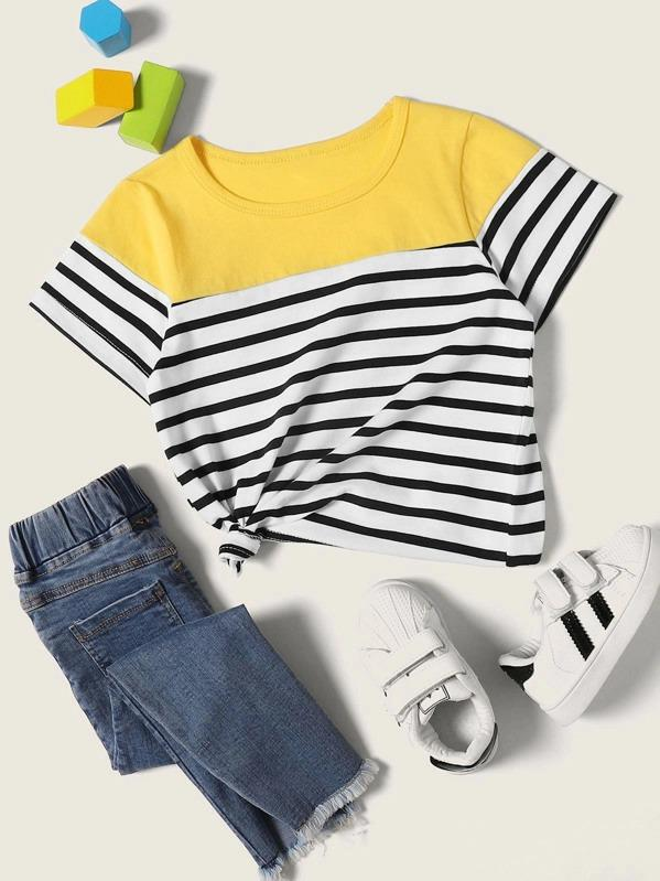 Toddler Girls Contrast Panel Striped Tee