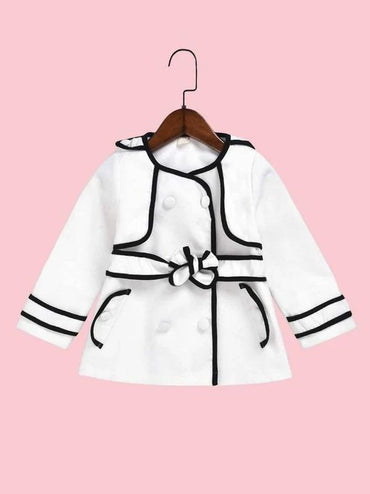 Toddler Girls Contrast Piping Trim Double Breasted Coat
