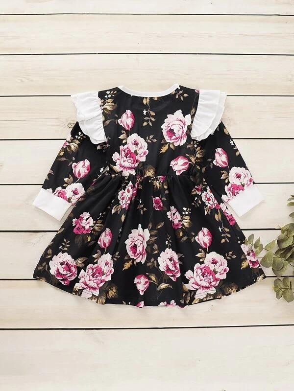 Toddler Girls Contrast Ruffle Floral Print A-Line Dress