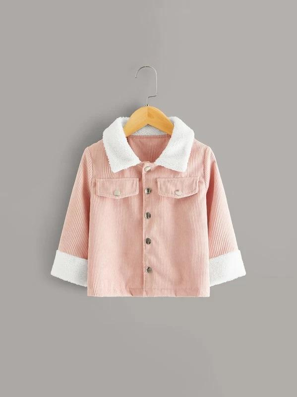 Toddler Girls Contrast Shearling Rib-Knit Corduroy Jacket