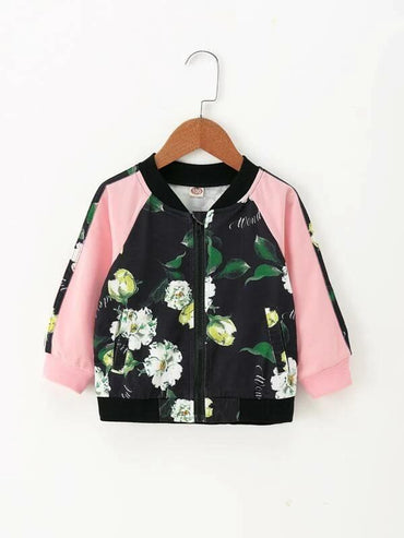 Toddler Girls Contrast Sleeve Floral Bomber Jacket
