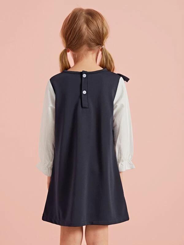 Toddler Girls Contrast Sleeve Ruffle Tunic Dress