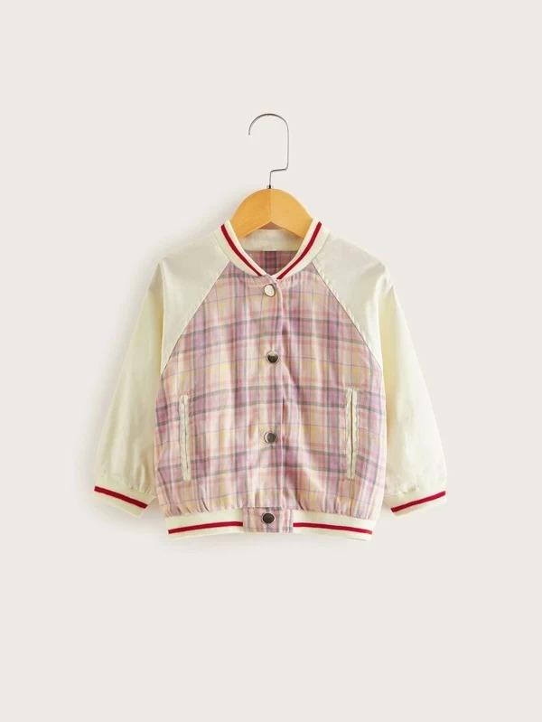Toddler Girls Contrast Sleeve Tartan Baseball Jacket