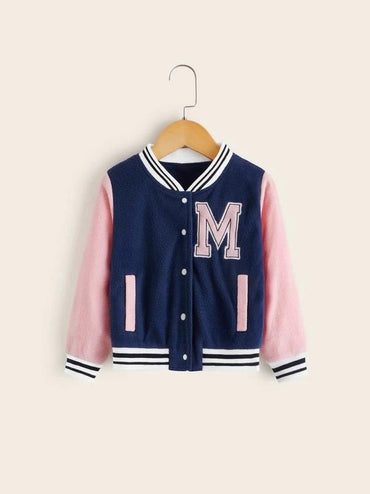 Toddler Girls Contrast Striped Trim Teddy Baseball Jacket
