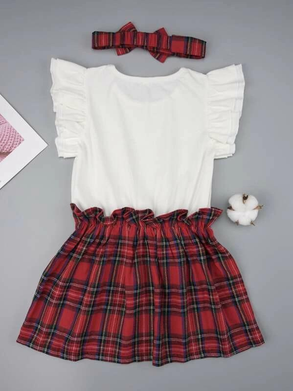 Toddler Girls Contrast Tartan Hem Frill Dress With Headband