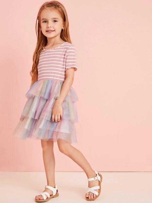Toddler Girls Contrast Tiered Layer Mesh Striped A-Line Dress