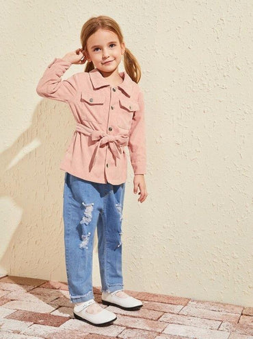 Toddler Girls Corduroy Flap Pockets Belted Coat