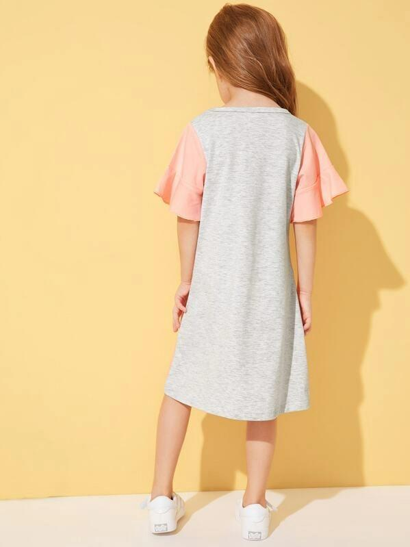 Toddler Girls Cut And Sew Flounce Sleeve Dress