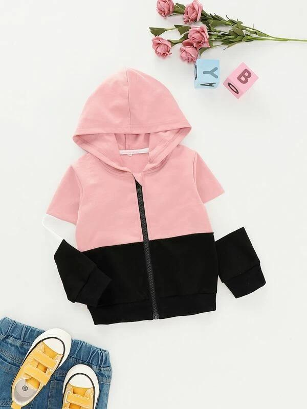 Toddler Girls Cut And Sew Hooded Jacket