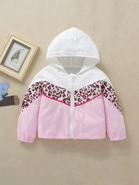 Toddler Girls Cut And Sew Leopard Print Hooded Jacket