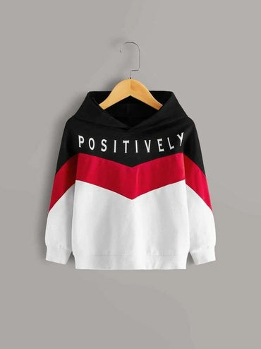 Toddler Girls Cut And Sew Letter Graphic Hoodie
