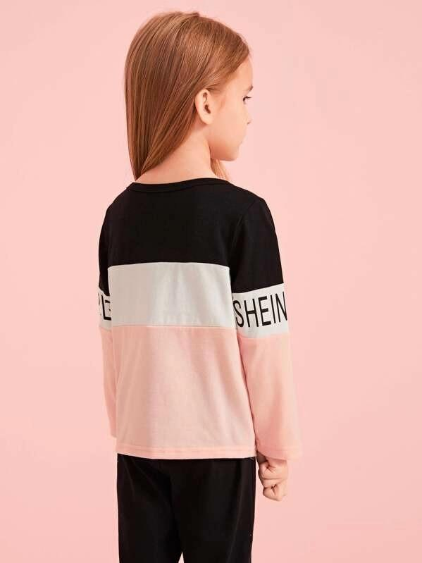 Toddler Girls Cut And Sew Letter Print Tee