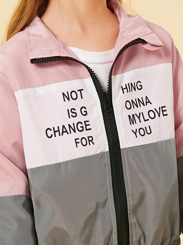 Toddler Girls Cut And Sew Slogan Print Windbreaker Jacket