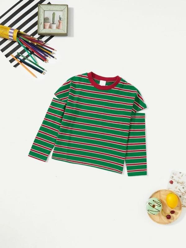 Toddler Girls Cut Out Sleeve Striped Tee