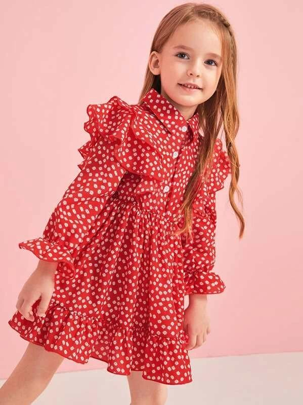 Toddler Girls Daisy Floral Ruffle Trim Shirt Dress