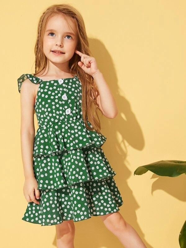 Toddler Girls Daisy Floral Tiered Layer Ruffle Hem Slip Dress