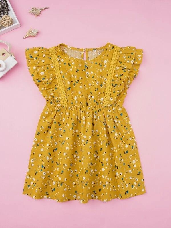 Toddler Girls Ditsy Floral Lace Panel Ruffle A-Line Dress