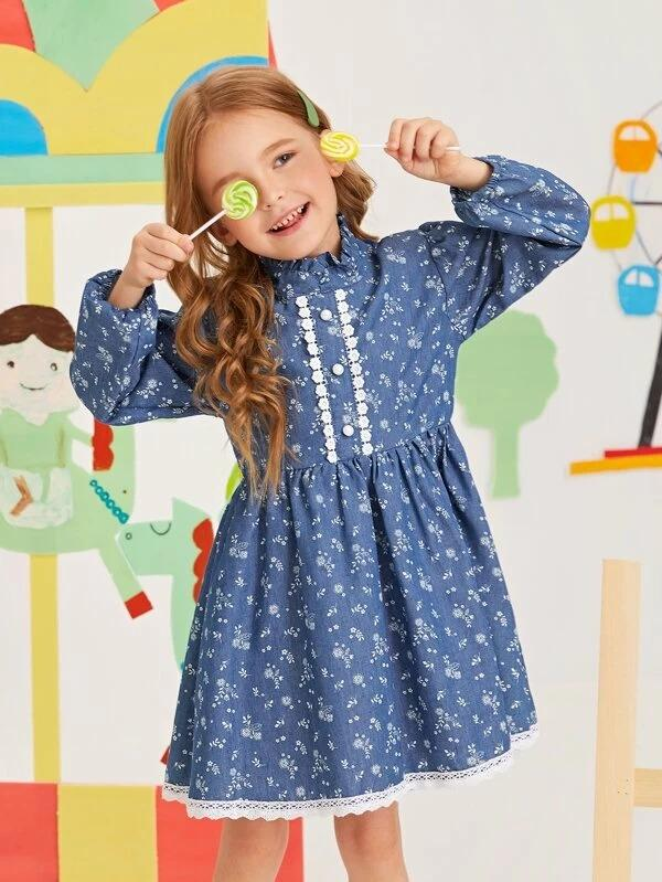 Toddler Girls Ditsy Floral Lace Panel Smock Dress