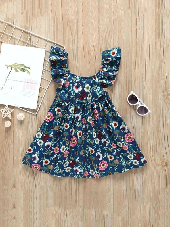 Toddler Girls Ditsy Floral Print Ruffle A-Line Dress