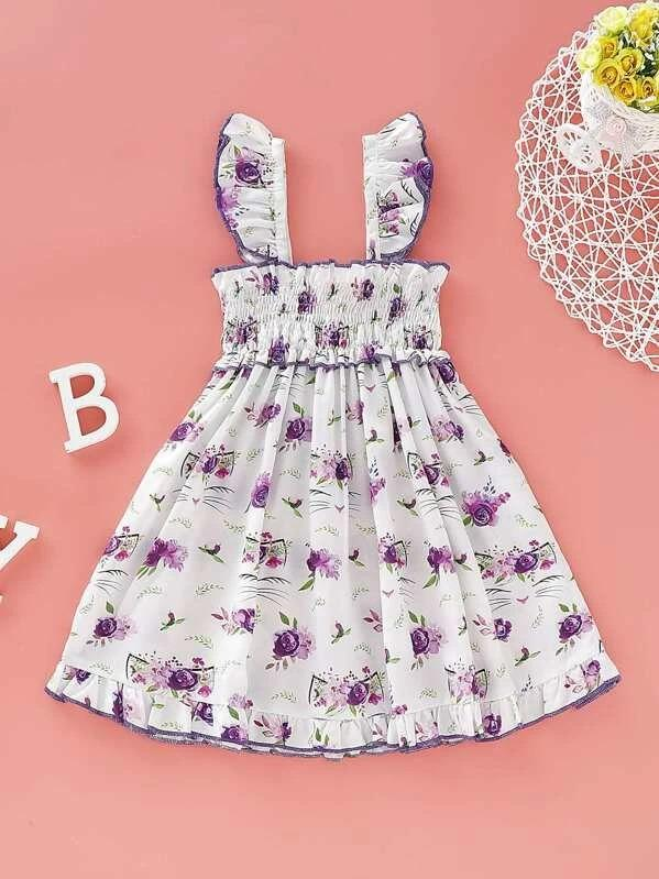 Toddler Girls Ditsy Floral Shirred Cami Dress