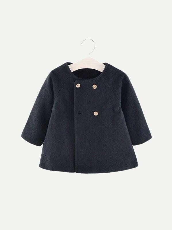 Toddler Girls Double Breasted Raglan Sleeve Coat