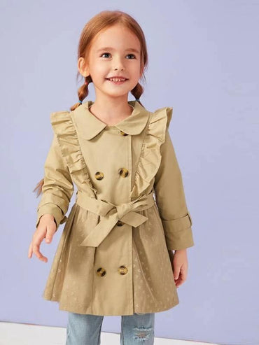 Toddler Girls Embroidery Mesh Panel Ruffle Trench Coat