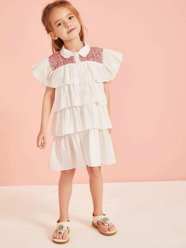 Toddler Girls Embroidery Tiered Layer Dress
