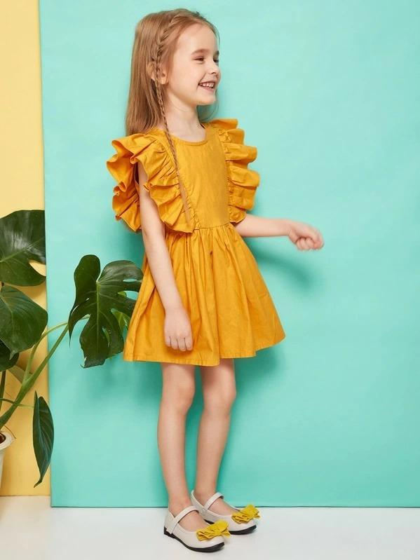 Toddler Girls Exaggerated Ruffle Popper Back A-Line Dress