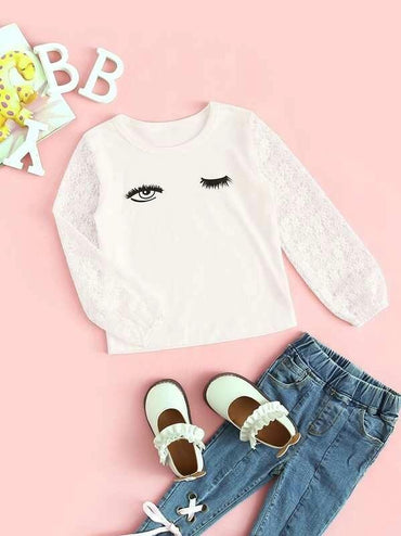 Toddler Girls Eye And Eyelash Print Lace Sleeve Tee