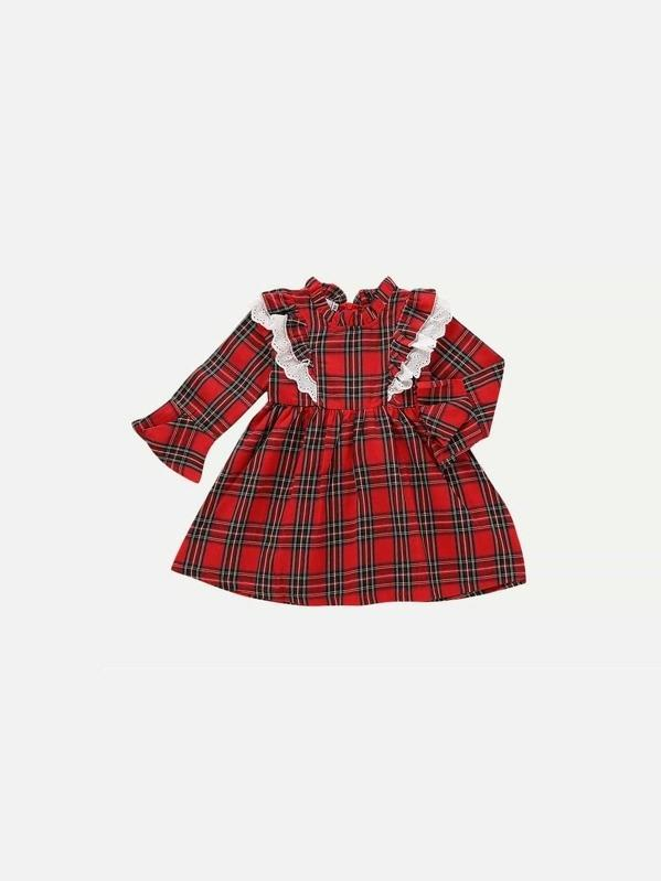 Toddler Girls Eyelet Embroidered Plaid Dress