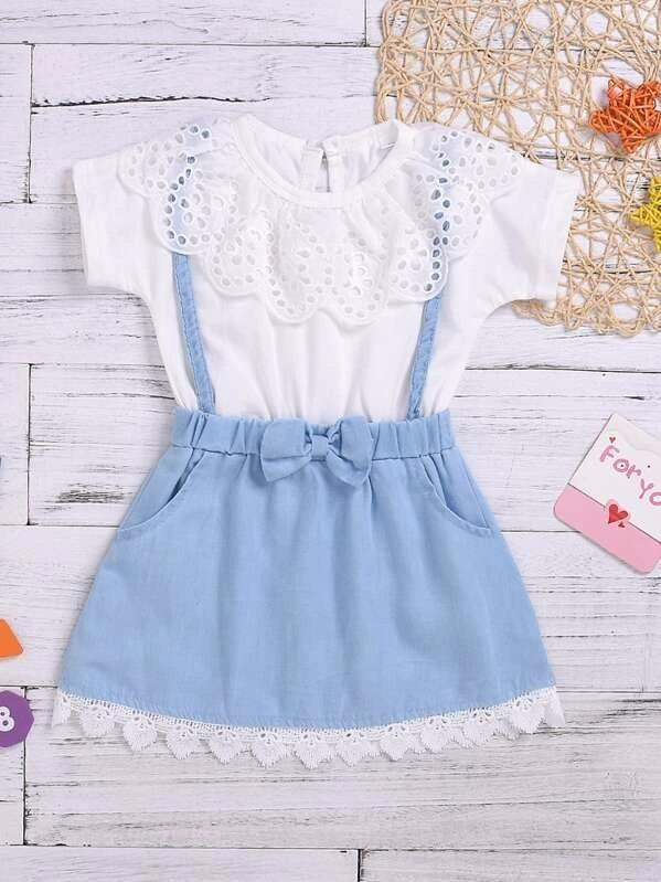 Toddler Girls Eyelet Embroidery Bow Front Combo Dress