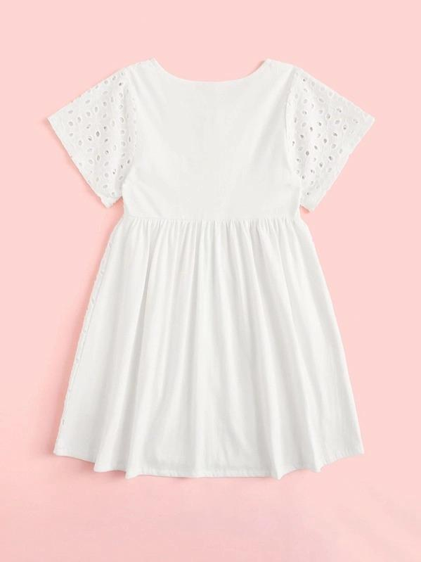 Toddler Girls Eyelet Embroidery Button Through Flare A-Line Dress