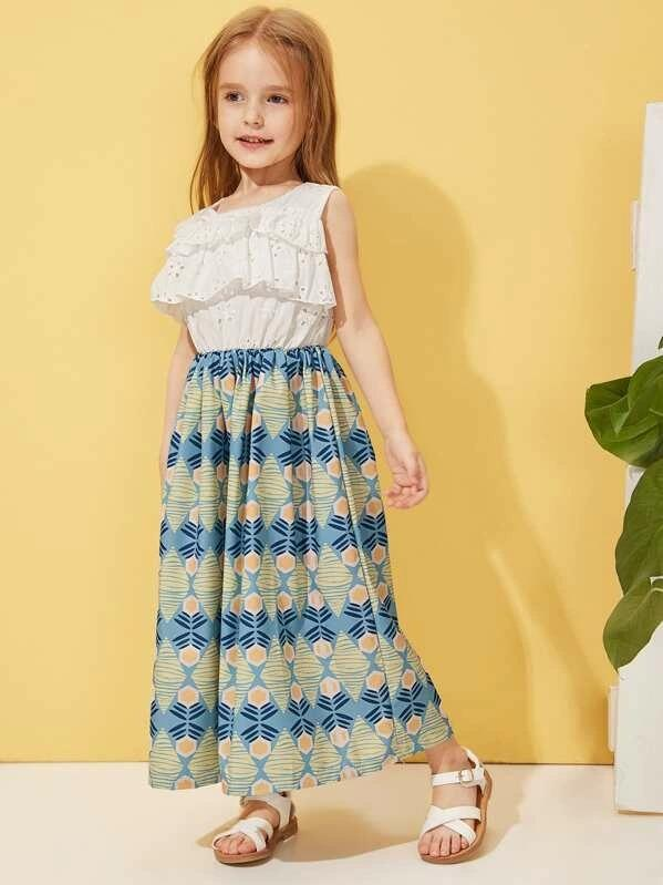 Toddler Girls Eyelet Embroidery Geo Print Combo Dress