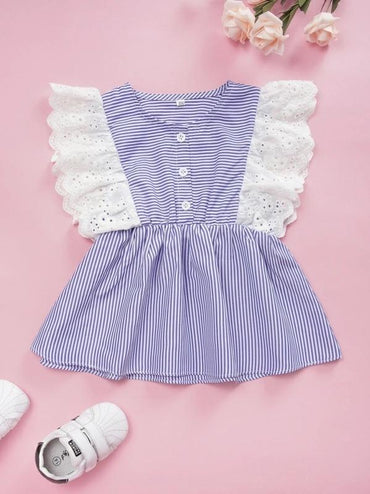 Toddler Girls Eyelet Embroidery Ruffle Hem Striped Blouse