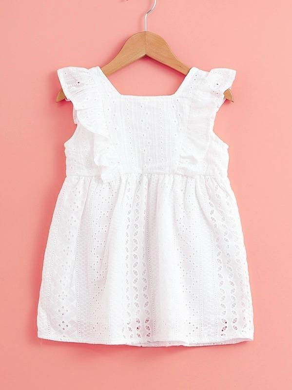 Toddler Girls Eyelet Embroidery Ruffle Trim A-Line Dress