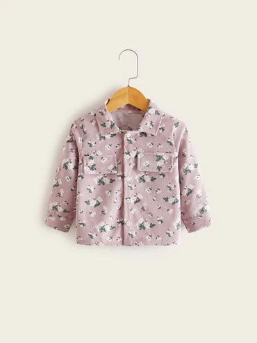Toddler Girls Fake Flap Pocket Floral Corduroy Jacket