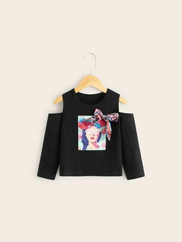 Toddler Girls Figure Print Open Shoulder Tee