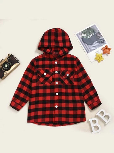 Toddler Girls Flap Pockets Buffalo Plaid Hooded Shaket