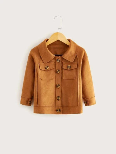 Toddler Girls Flap Pockets Button Front Suede Jacket