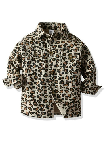 Toddler Girls Flap Pockets Cheetah Coat