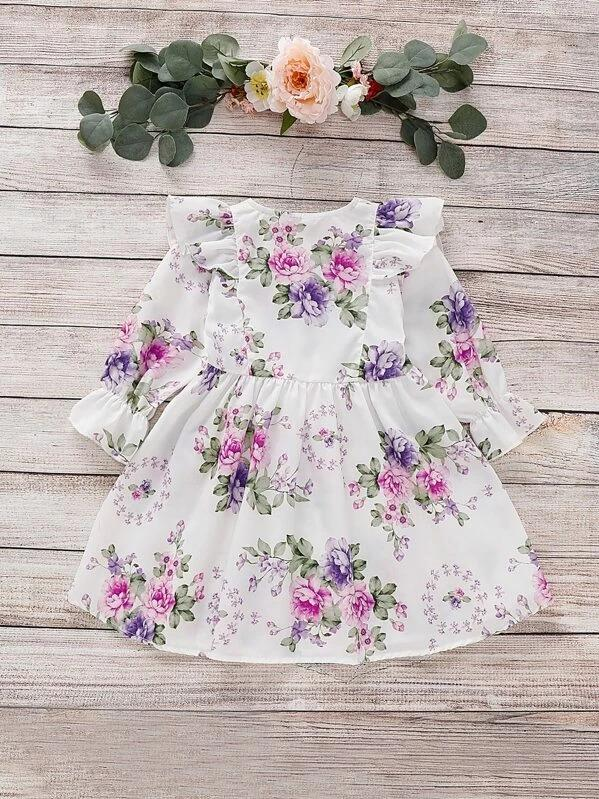Toddler Girls Floral Button Front Ruffle Trim A-Line Dress