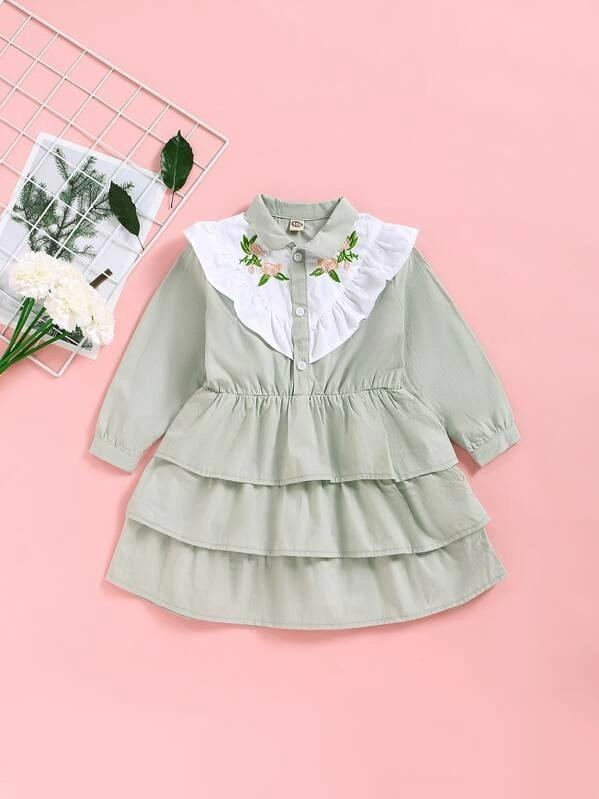 Toddler Girls Floral Embroidered Layered Ruffle Dress